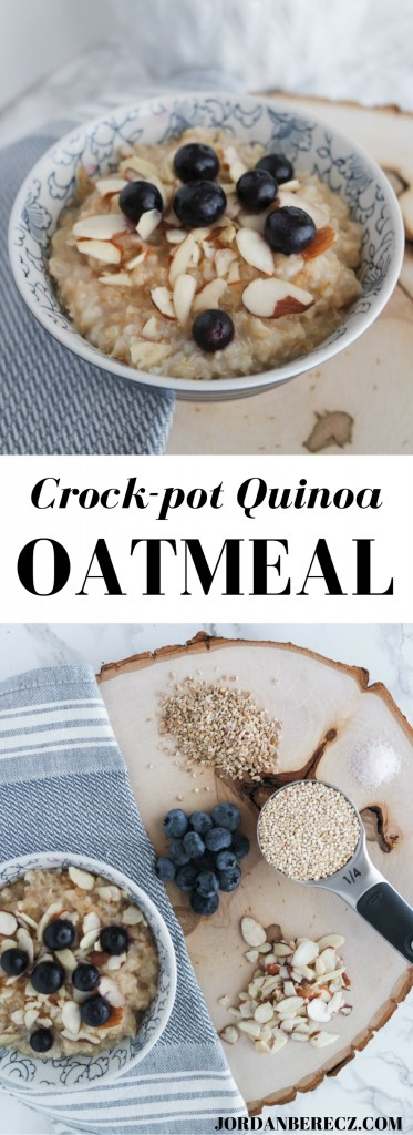 Crockpot Quinoa Oatmeal - A healthy and easy breakfast made with steel cut oats, quinoa, honey, and vanilla extract! Delicious!